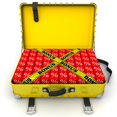 remuneraci�n: Abra la maleta llena de bonos. Concepto financiero Foto de archivo