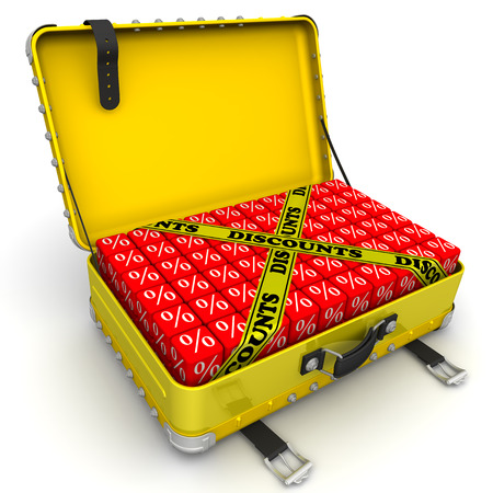 open suitcase: Open suitcase full of discounts. Financial concept