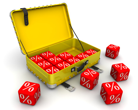 open suitcase: Open suitcase and cubes with a symbol of percent