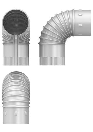 codo: Tubo acodado de acero. Aislada Foto de archivo