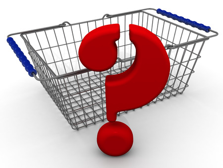 shopping questions: Shopping basket and red question mark. Isolated Stock Photo