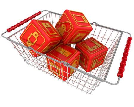 household appliances: Cubes with symbols of household appliances in the shopping basket
