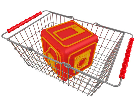 household appliances: Cube with symbols of household appliances in the shopping basket Stock Photo