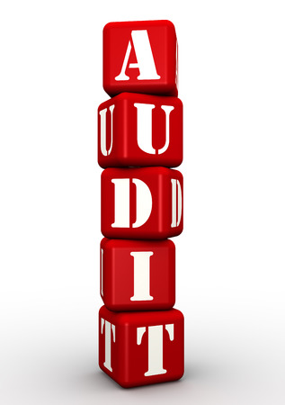 audit: Audit. Word composed of red cubes