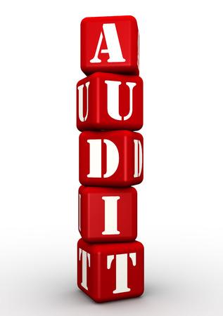 auditoría: Auditoría. Palabra compuesta por cubos rojos Foto de archivo