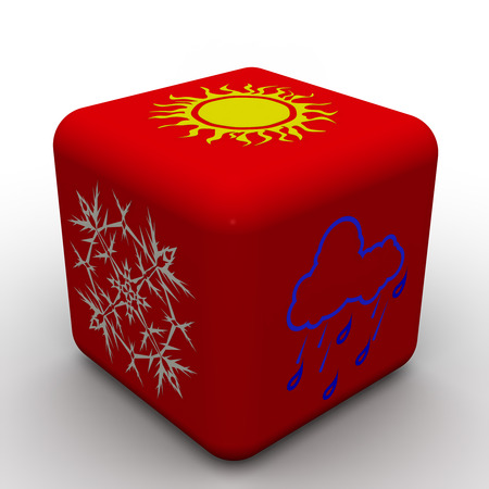 red cube: Red cube with symbols of weather