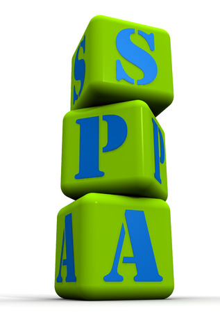 The term SPA composed of green cubes. Vertically. Isolated Stock Photo