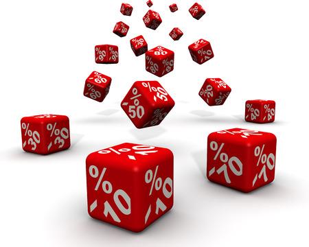 Fallende 3D red Verkauf-Würfel mit Prozent-Rabattzeichen auf weißem Hintergrund Standard-Bild - 42866330