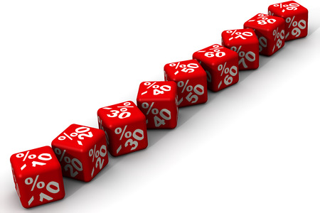 margins: Row  of red cubes with discount sign on white background