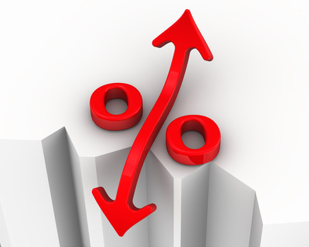 precipice: Symbol of interest rate changes is at the precipice. Financial concept