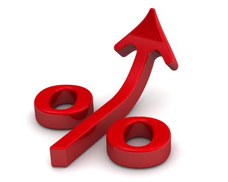 Symbol der steigenden Zinsen auf weißem Hintergrund. Finanzkonzept Standard-Bild - 42866411