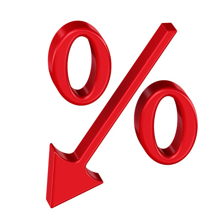 economic interest: Symbol of falling interest rates on white background. Isolated. Financial concept