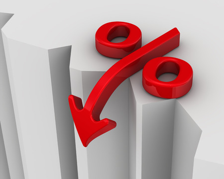 interest rates: Symbol of falling interest rates near the precipice. Financial concept