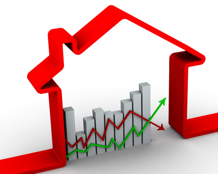 volatility: Changes in real estate prices. Concept Stock Photo