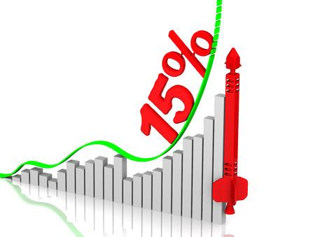 volatility: Graph of rapid growth. Growth of 15 percent Foto de archivo