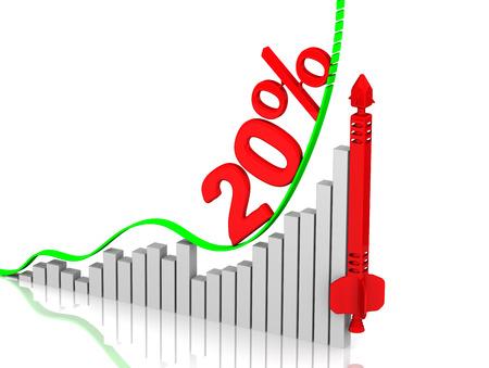 incremento: Gráfica de crecimiento rápido. Crecimiento de 20 por ciento Foto de archivo