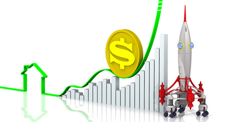 rising prices: Rising real estate prices. Concept