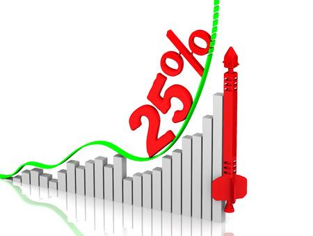 volatility: Graph of rapid growth. Growth of 25 Foto de archivo
