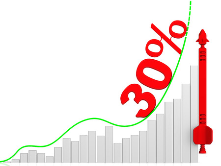 Graph of rapid growth. Growth of 30 percent