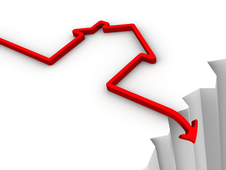 The fall in property prices. Concept