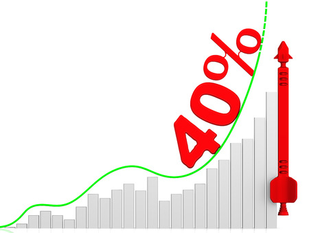 volatility: Graph of rapid growth. Growth of 40 percent Stock Photo