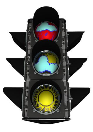 permitting: Traffic light of weather Stock Photo