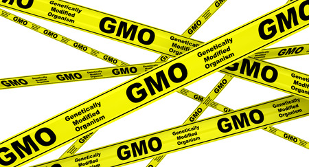 Genetically Modified Organism GMO. Yellow warning tapes