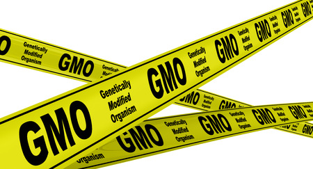 genetically: Genetically Modified Organism GMO. Yellow warning tapes