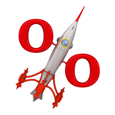 profitable: Symbol profitable growing percentage from the rocket directed upwards. Isolated. Financial concept Stock Photo
