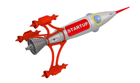 labeled: Spaceship labeled STARTUP. Isolated