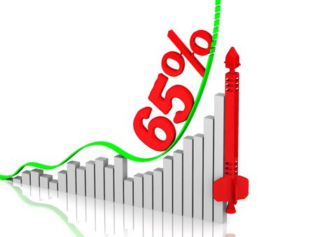 volatility: Graph of rapid growth. Growth of 65 percent Stock Photo