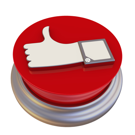approval button: Round button with the symbol of the positive review