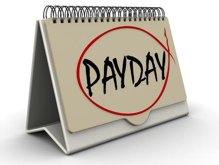 event calendar: PAYDAY. Inscription on the calendar Stock Photo