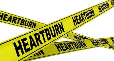 heartburn: HEARTBURN. Yellow warning tapes Stock Photo