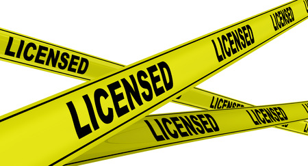 licensed: LICENSED. Yellow warning tapes