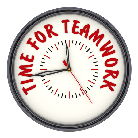 Time for teamwork. Watches with an inscription Stock Photo