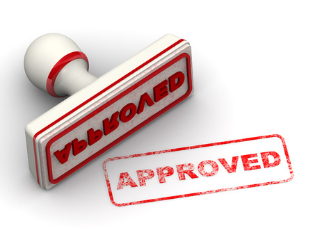 admittance: APPROVED. Seal and imprint Stock Photo