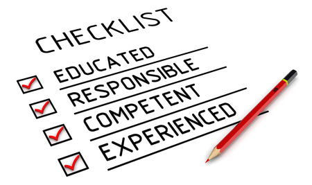 Educated, responsible, competent, experienced. Checklist 写真素材