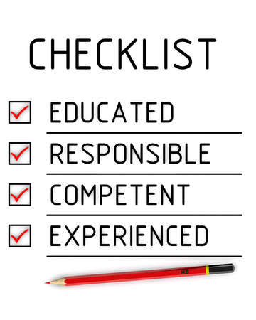 competent: Educated, responsible, competent, experienced. Checklist Stock Photo