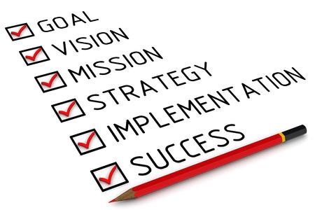 目標、ビジョン、ミッション、戦略、実装、成功。マークをリストします。