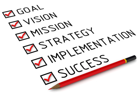 implementation: Goal, vision, mission, strategy, implementation, success. List with the marks