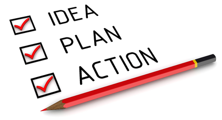 plan de accion: Idea, plan, acción. Lista con las marcas