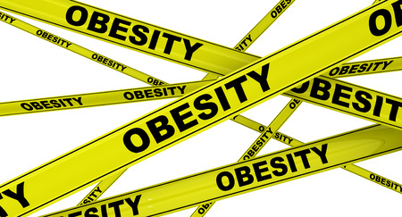 obesity: OBESITY. Yellow warning tapes