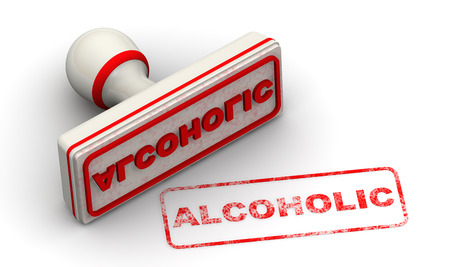 alcoholic: ALCOHOLIC. Seal and imprint Stock Photo