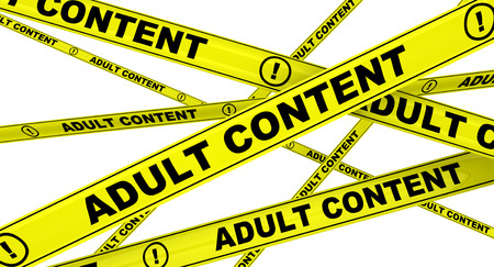 only adult: Adult content. Yellow warning tapes Stock Photo
