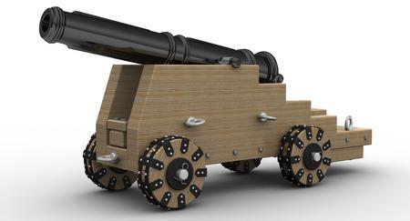 3d illustration of ancient an artillery gun in shades of gray
