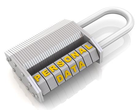 combination: Personal data. Combination padlock Stock Photo