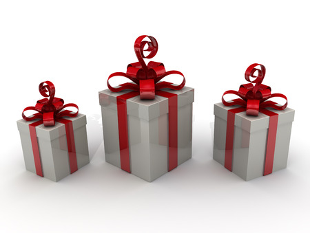 three gift boxes: Three gift boxes on a white surface