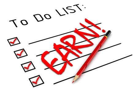 earn: EARN! To do list Stock Photo
