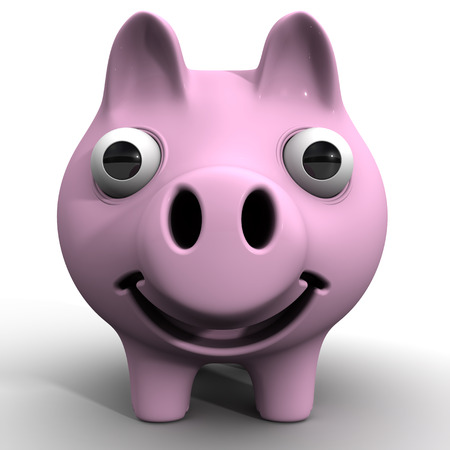 protruding eyes: The cheerful pig piggy bank with bulging eyes Stock Photo